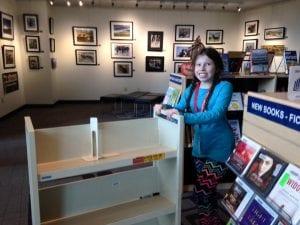 Lillian Pushing Cart at Library 11.16.17