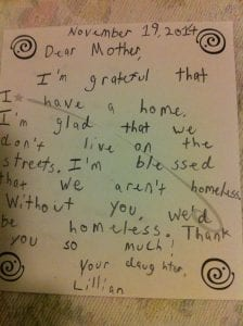 Grateful Note from Lillian 11.19.14