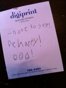Thomas Note to Self Be Happy 2013