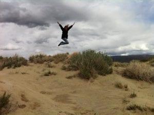 Camilla Jumping Washoe Lake April 2016